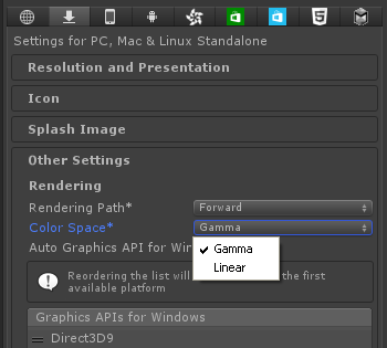 Unity colour space setting